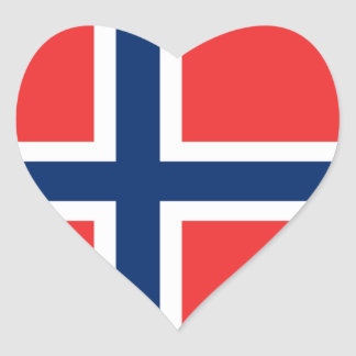 The Flag of Norway - Scandinavia Heart Stickers