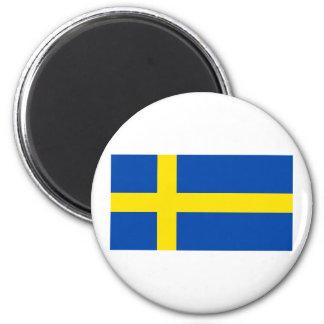The Flag of Sweden 6 Cm Round Magnet