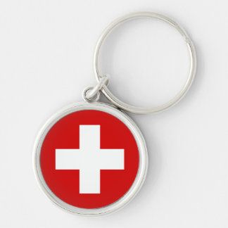 The Flag of Switzerland Silver-Colored Round Key Ring