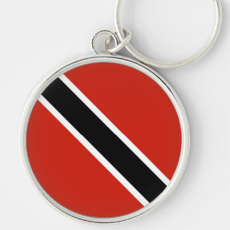 The Flag of Trinidad Silver-Colored Round Key Ring