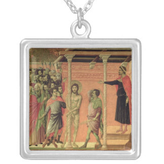 The Flagellation, from the Maesta altarpiece Silver Plated Necklace