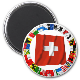 The Flags of the Cantons of Switzerland 6 Cm Round Magnet
