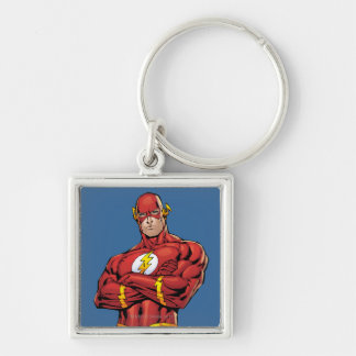 The Flash Arms Crossed Silver-Colored Square Key Ring