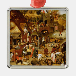 The Flemish Proverbs Silver-Colored Square Decoration