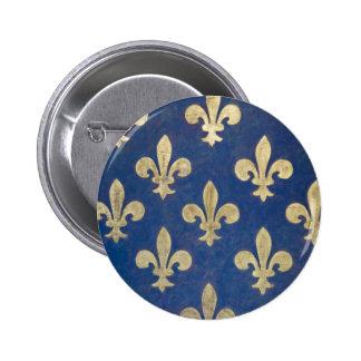 The fleur-de-lis or fleur-de-lys pinback button