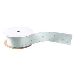 The Fleur-de-Lis - Vintage Pastel Colours Satin Ribbon