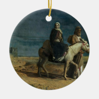 The Flight From The Sword of Herod, 1880 (oil on c Round Ceramic Decoration