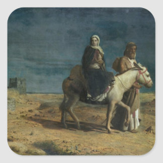 The Flight From The Sword of Herod, 1880 (oil on c Square Sticker