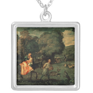 The Flight into Egypt, 1500s Silver Plated Necklace