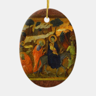 The Flight Into Egypt by Holy Family Ceramic Oval Decoration