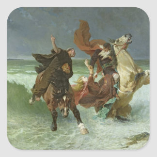 The Flight of Gradlon Mawr  c.1884 Square Sticker