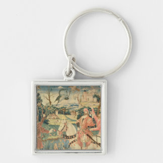 The Flight of the Heron, Franco-Flemish Silver-Colored Square Key Ring