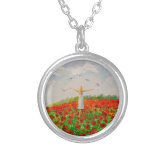 The flight of the soul silver plated necklace