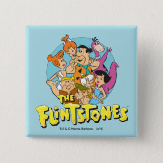 The Flintstones and Rubbles Family Graphic 15 Cm Square Badge