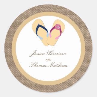 The Flip-Flop Sand Beach Burlap Wedding Collection Classic Round Sticker