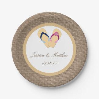 The Flip-Flop Sand Beach Burlap Wedding Collection Paper Plate