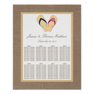 The Flip-Flop Sand Beach Burlap Wedding Collection Poster