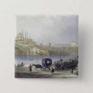 The Floating Bridge, Istanbul, engraved by J.C. Be 15 Cm Square Badge
