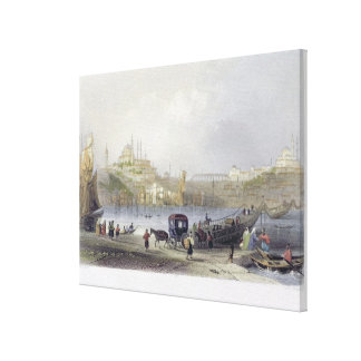 The Floating Bridge, Istanbul, engraved by J.C. Be Canvas Print