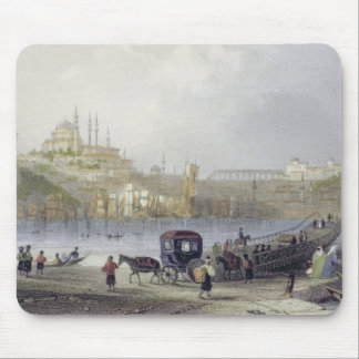 The Floating Bridge, Istanbul, engraved by J.C. Be Mouse Pad