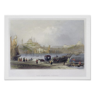 The Floating Bridge, Istanbul, engraved by J.C. Be Poster