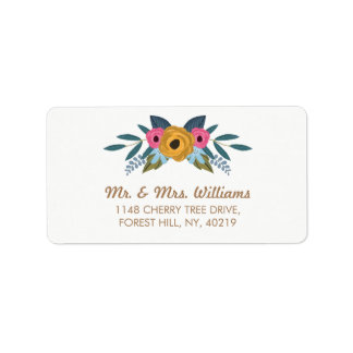 The Floral Wreath White Wedding Collection Address Label