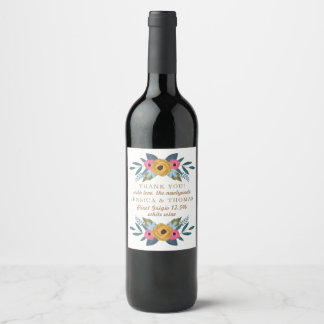 The Floral Wreath White Wedding Collection Wine Label
