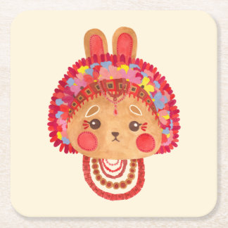 The Flower Crown Bunny Square Paper Coaster
