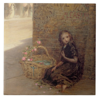 The Flower Girl, 1872 (oil on canvas) Large Square Tile