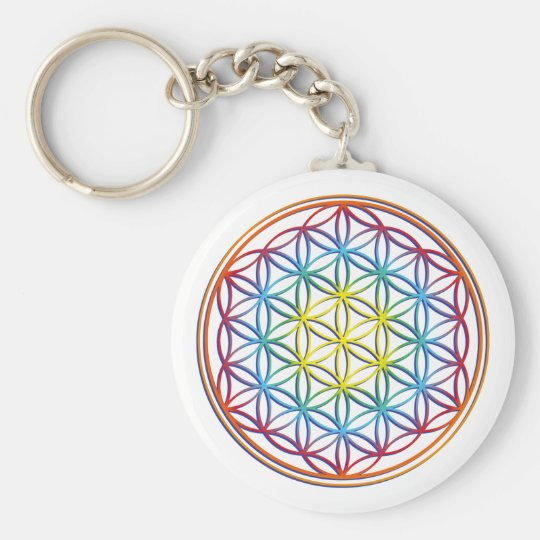 the flower of the life basic round button key ring