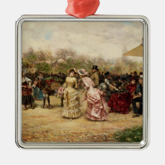 The Flower Sellers, 1883 Silver-Colored Square Decoration
