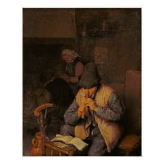 The Flute Player, 17th century Print