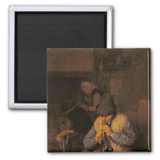 The Flute Player, 17th century Square Magnet