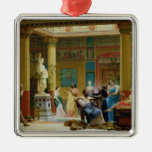 The Fluteplayer' and 'The Diomedes' wife' Silver-Colored Square Decoration