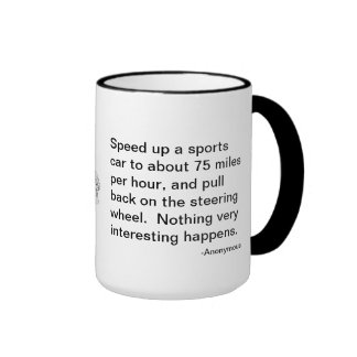 The flyer's riddle, sports car or airplane? ringer coffee mug
