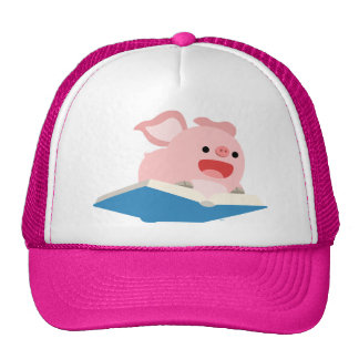 The Flying Book and Cartoon Pig Hat