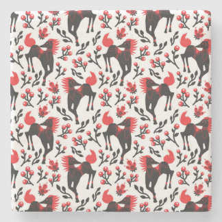 The Folk Art Horses Vector Seamless Pattern Stone Coaster