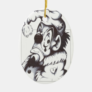 The Fool in Love Double-Sided Oval Ceramic Christmas Ornament