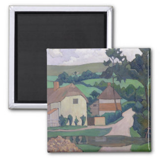 The Ford (oil on canvas) Square Magnet