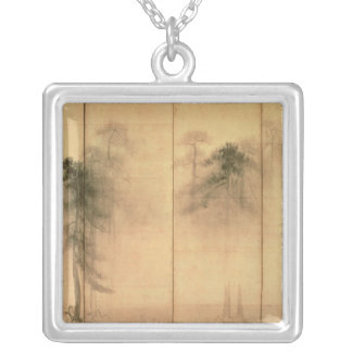 The forest of pines silver plated necklace