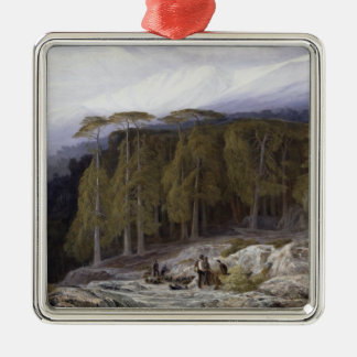 The Forest of Valdoniello, Corsica, 1869 (oil on c Christmas Ornament