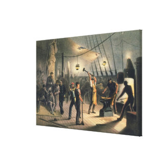 The Forge on Deck of the Great Eastern, night of A Canvas Print