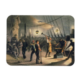 The Forge on Deck of the Great Eastern, night of A Rectangular Photo Magnet