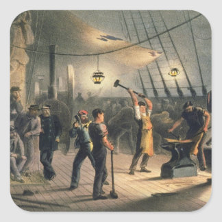 The Forge on Deck of the Great Eastern night of A Square Sticker