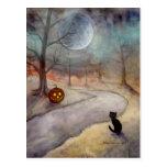 The Forgotten Path Halloween Black Cat and Pumpkin Postcards