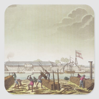 The Fort at Batavia with Native Loggers, plate 50 Square Sticker