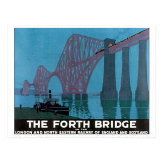 The Forth Bridge Vintage Travel Poster Post Card