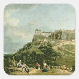 The Fortress of Konigstein, 18th century Square Sticker