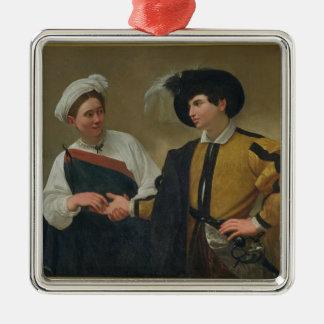 The Fortune Teller (La Buona Ventura), c.1594 Silver-Colored Square Decoration