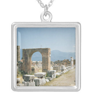 The Forum with the mountains in the background Silver Plated Necklace